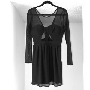 Little black dress with mesh detail & cut outs
